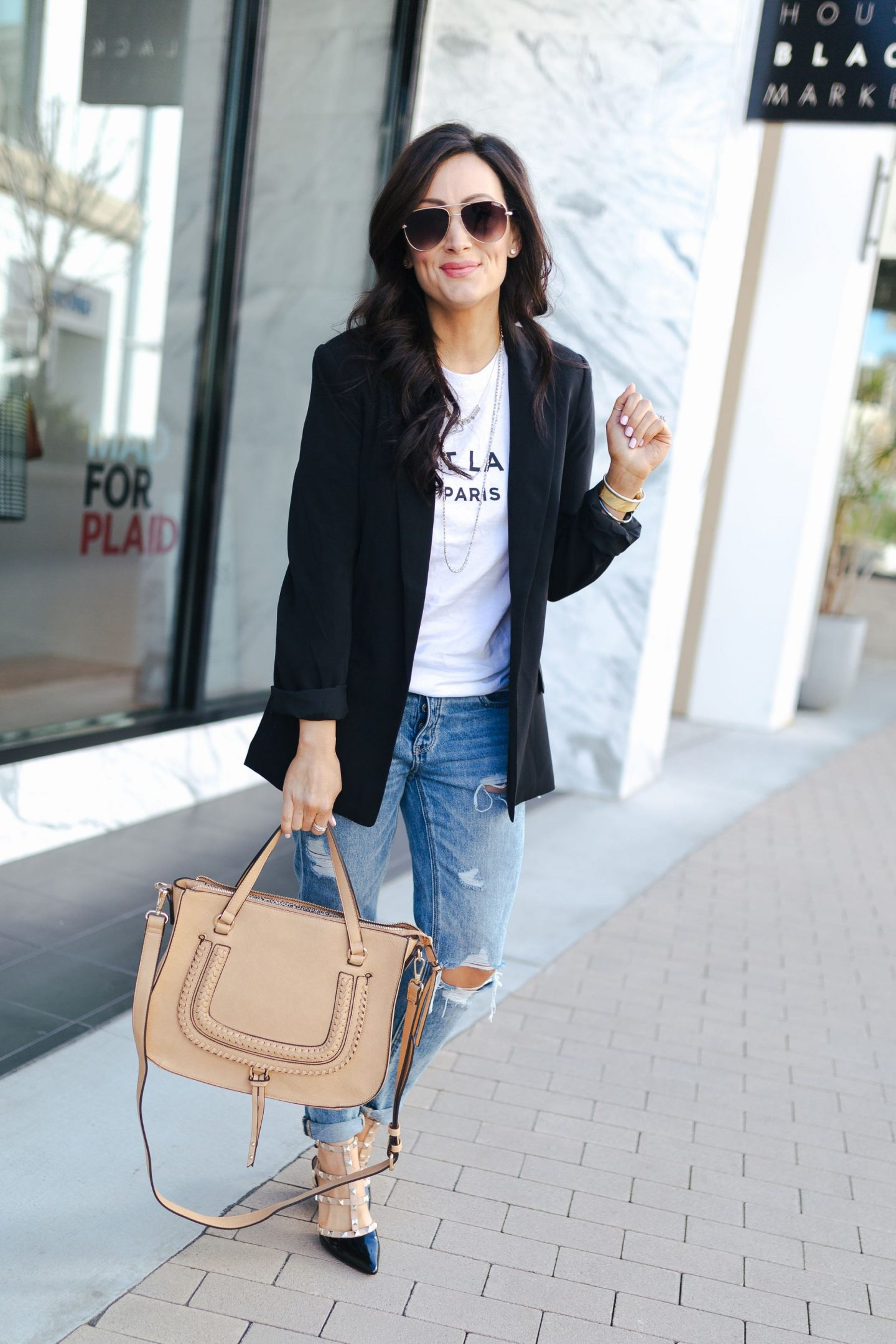 ed75b22d668b Look #1: A simple tee and jeans dressed up with a studded heel and a blazer.